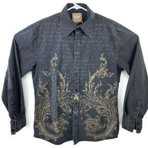 Roar  Distressed Button Down Shirt Embroidered